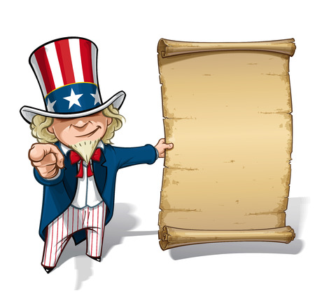 Cartoon Illustration of Uncle Sam holding a declaration-like papyrus and pointing