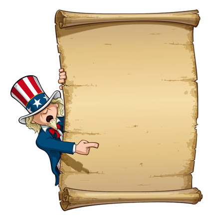 Cartoon Illustration of Uncle Sam Pointing at a declaration-like papyrus. Vector