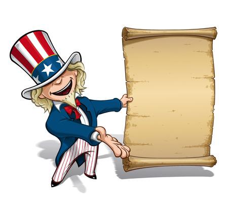 Cartoon Illustration of Uncle Sam presenting a declaration-like papyrus. Stock Illustratie