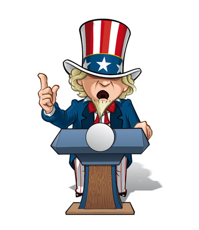 patriot act: Cartoon Illustration of Uncle Sam on the podium, giving a speech with intense expression.
