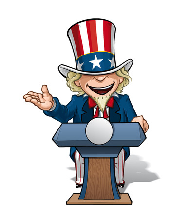patriot act: Cartoon Illustration of Uncle Sam on the podium, giving a speech with an open expression.