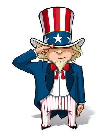 patriot act: Cartoon Illustration of Uncle Sam saluting.