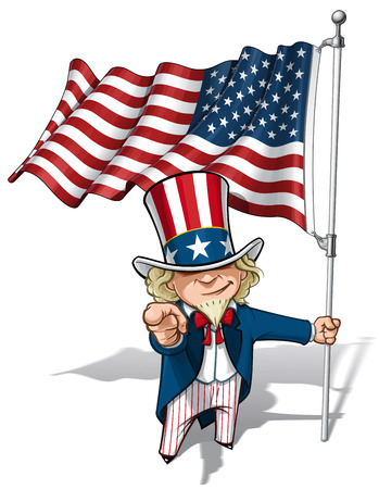 Vector Cartoon Illustration of Uncle Sam holding a waving American flagand pointing I want you like the classic WWI poster.
