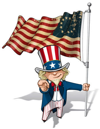 Vector Cartoon Illustration of Uncle Sam holding a Betsy Ross American flag, pointing