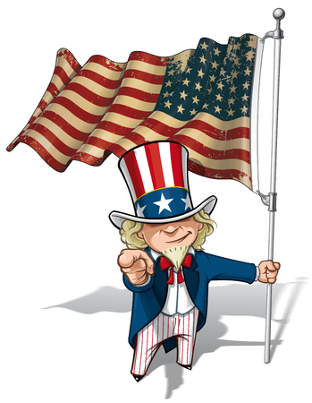 point i: Vector Cartoon Illustration of Uncle Sam holding a 48 star American flag, pointing I want you. This was the flag of the United States during both World Wars and the Korean war. Flags texture and sepia color can be removed by turning the respective laye Illustration