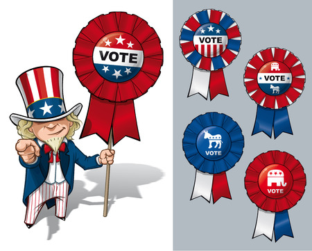 Vector Cartoon Illustration of Uncle Sam holding a Vote ribbon - banner - badge and pointing