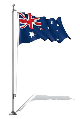 tied down: Illustration of a waving Australia flag fasten on a flag pole Illustration