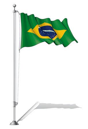 south pole: Illustration of a waving Brazil flag fasten on a flag pole