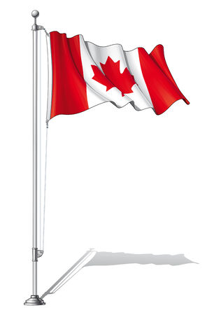 Illustration of a waving Canada flag fasten on a flag pole Stock Vector - 28025526