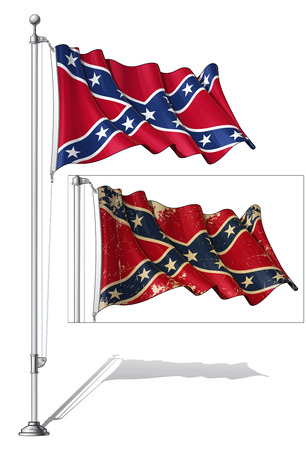Illustration of a waving Confederate Rebe  flag in a clean-cut and an aged version, fasten on a flag pole