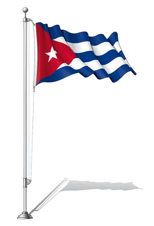 cuban flag: Illustration of a waving Cuba flag fasten on a flag pole Illustration