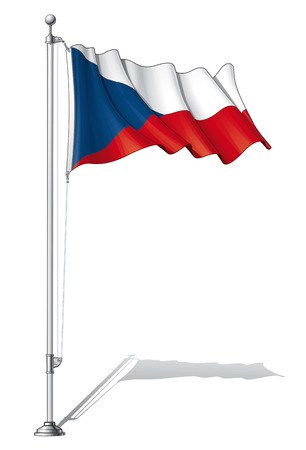 european countries: Illustration of a waving Czech flag fasten on a flag pole Illustration