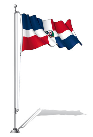 to fasten: Illustration of a waving Dominican flag fasten on a flag pole Illustration