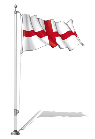 Vector Illustration of a waving English flag fasten on a flag pole. Flag and pole in separate layers, line art, shading and color neatly in groups for easy editing.  Vector