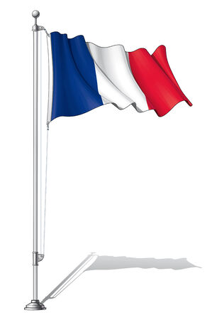 Illustration of a waving France flag fasten on a flag pole