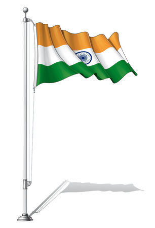 to fasten: Illustration of a waving India flag fasten on a flag pole