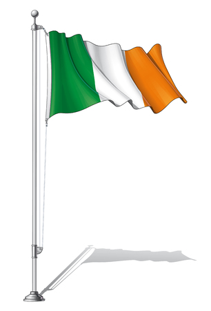 patric banner: Illustration of a waving Ireland flag fasten on a flag pole