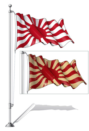 Vector Illustration of a waving Japanese Imperial Navy flag in a clean-cut and an aged version, fasten on a flag pole. Both versions are in-place in separate groups. Flags and pole in separate layers; line art, shading and color neatly in groups for easy