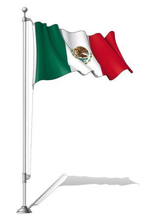 Ilustración de un atar bandera mexicana ondeando en un mástil de la bandera