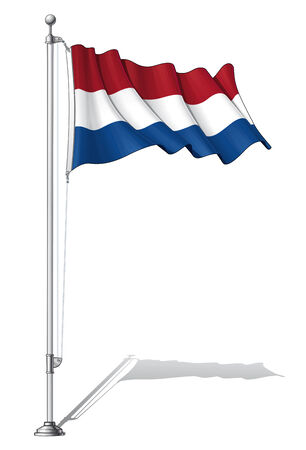 holland flag: Illustration of a waving Dutch flag fasten on a flag pole Illustration