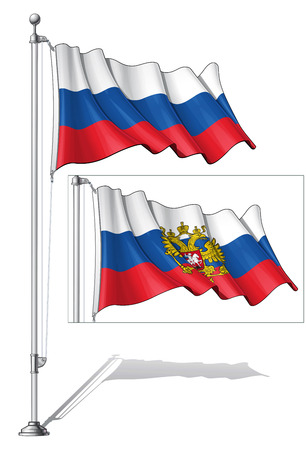 to fasten: Illustration of a waving Russian National and State flags fasten on a flag pole