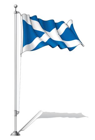 scotland flag: Illustration of a waving Scotland flag fasten on a flag pole
