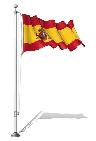 spain flag: Illustration of a waving Spain flag fasten on a flag pole
