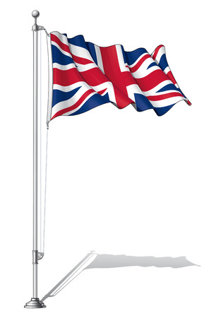 to fasten: Illustration of a waving UK flag fasten on a flag pole Illustration