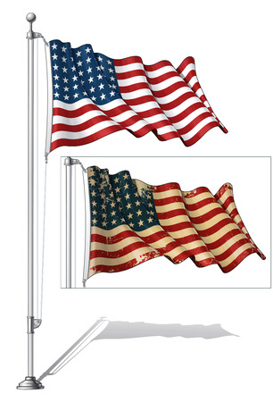 Vector Illustration of a waving 48 star US flag in a clean-cut and an aged version, fasten on a flag pole. This was the flag of the United States during WWI, WWII and the Korean War. Both versions are in-place in separate groups. Flags and pole in separat Ilustração