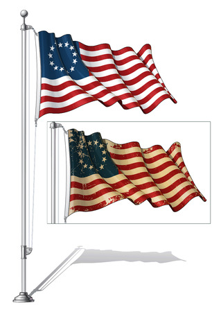 Illustration of a waving US Betsy Ross flag in a clean-cut and an aged version, fasten on a flag pole Vector