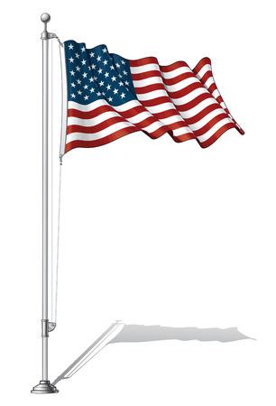 polo: Ilustración de una bandera ondeando fasten EE.UU. en un poste de la bandera