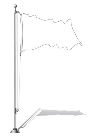 flag pole: Illustration of a waving flag outline fasten on a flag pole.
