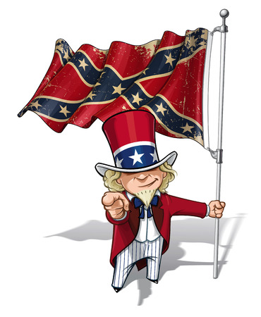 rebel flag: Vector Cartoon Illustration of South Uncle Sam holding a waving a American civil war South Flag (Stars and Bars), pointing I want you. Flags texture and sepia color can be removed by turning the respective layers off.