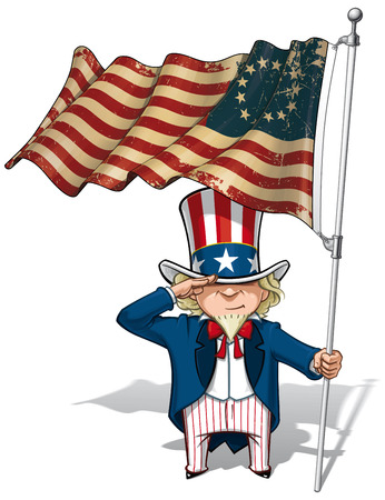 Vector Cartoon Illustration of Uncle Sam saluting and holding a Betsy Ross American flag. Flags texture and sepia color can be removed by turning the respective layers off. Vector