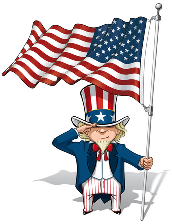 sam: Vector Cartoon Illustration of Uncle Sam saluting and holding a waving American flag.