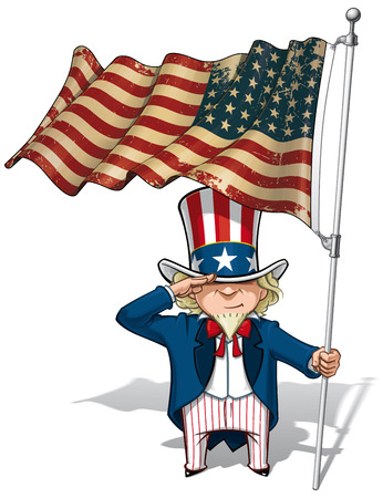 Vector Cartoon Illustration of Uncle Sam saluting and holding a 48 star American flag. This was the US Flag during both World Wars and the Korean war. Flags texture and sepia color can be removed by turning the respective layers off.