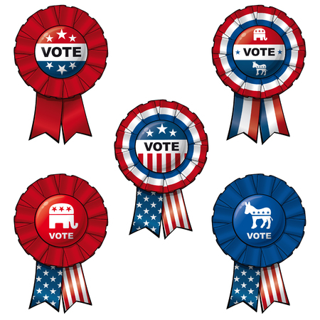 Set of 5 interchangeable Ribbons and Buttons on VOTE subject. Vector