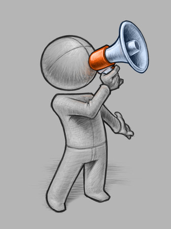 Hand-drawn pencil illustration of a generic small person calling through a megaphone. illustration