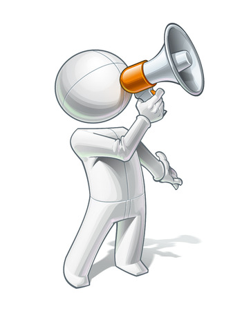 Vector illustration of a generic person calling through a megaphone.