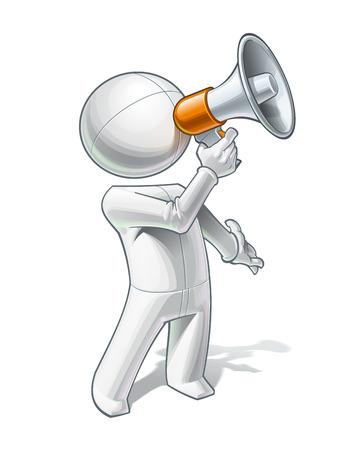 Vector illustration d'une personne générique appelant à travers un mégaphone.