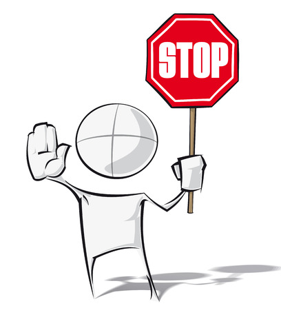 warning attention sign: Sparse vector illustration of a of a generic cartoon character holding a stop sign.