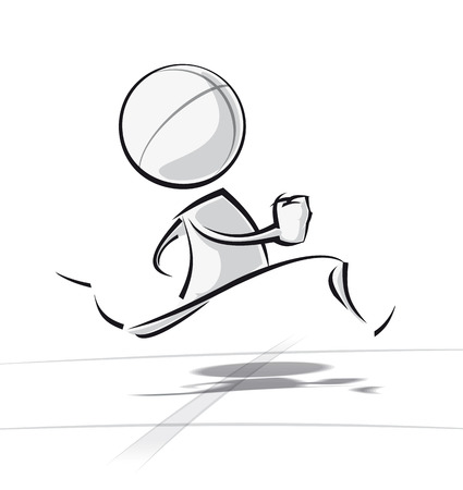 Sparse vector illustration of a of a generic cartoon character racing. Illustration