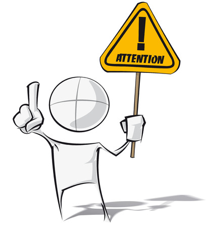 Sparse vector illustration of a of a generic cartoon character holding an attention sign.