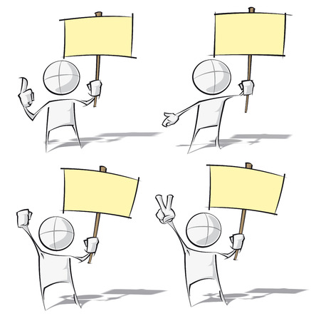rebelling: Set of sparse vector illustration of a generic cartoon character holding a placard. Illustration