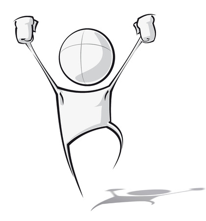 victorious: Sparse vector illustration of a of a generic cartoon character in a winning pose.