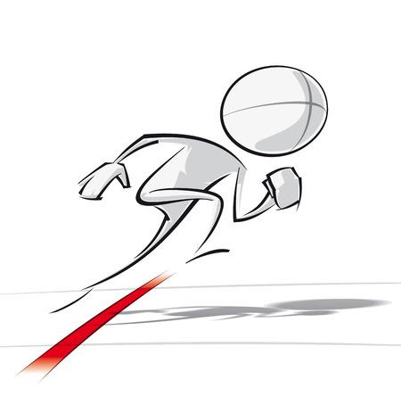 Spaarzame vector illustratie van een van een generieke stripfiguur starten van een race.