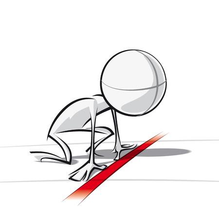 Spaarzame vector illustratie van een van een generieke stripfiguur klaar om te racen.