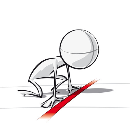 starting line: Sparse vector illustration of a of a generic cartoon character ready to race.