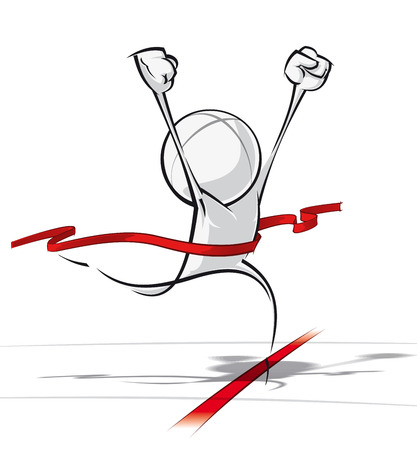 achievement concept: Sparse vector illustration of a of a generic cartoon character winning a race.