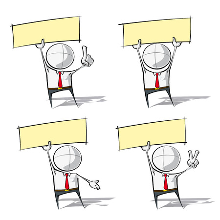 point of demand: Set of sparse vector illustration of a generic Business cartoon character holding a label.